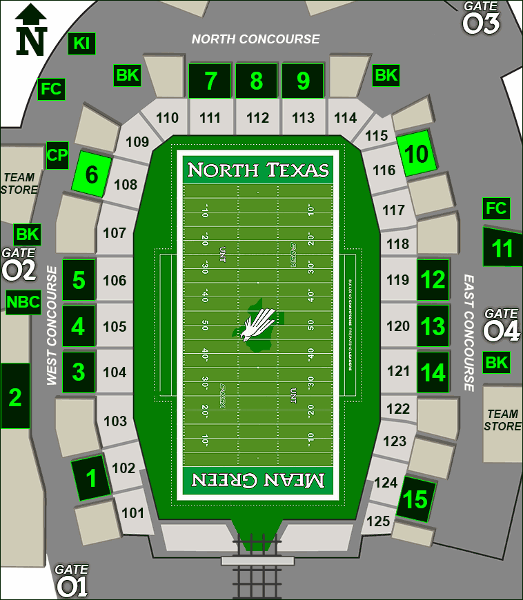 Apogee Stadium concessions map - Syracuse's Backyard Grillers