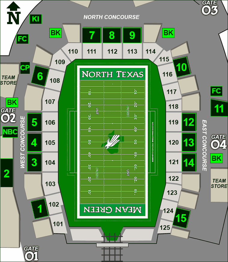 Apogee Stadium concessions map - craft beer kiosks
