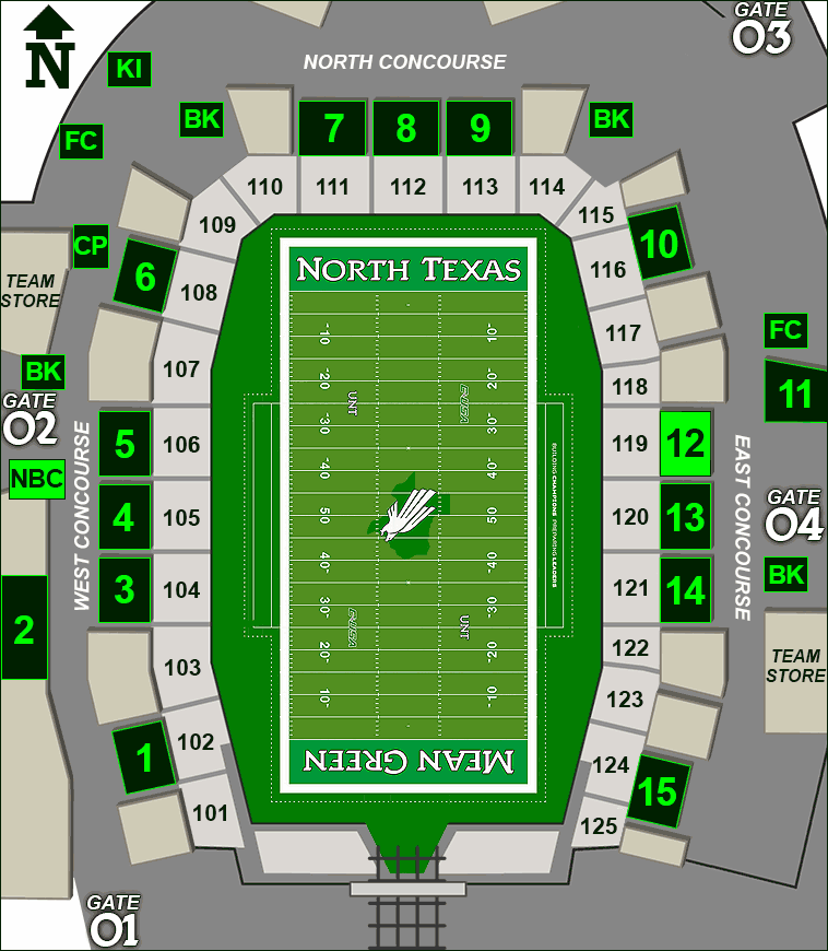 Apogee Stadium concessions map - Nothing Bundt Cakes