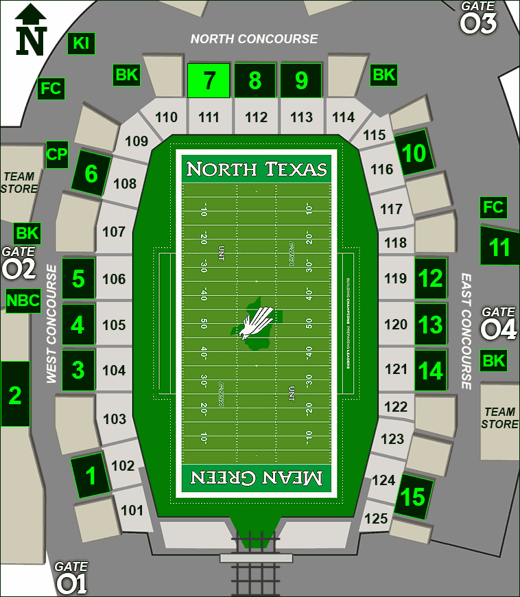 Apogee Stadium concessions map - Rudy's BBQ