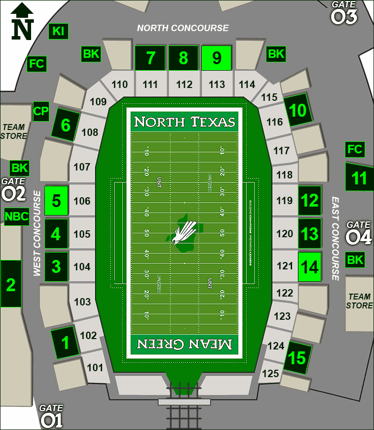 Apogee Stadium concessions map - Victory Grill