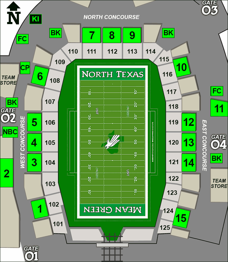 Apogee Stadium concessions map - bottled water