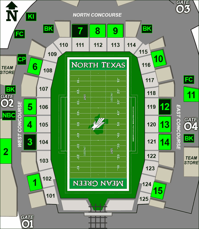 Apogee Stadium concessions map - hot dogs