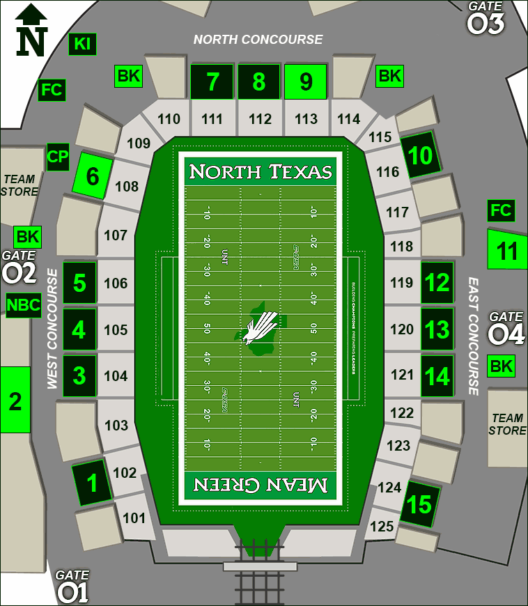 Apogee Stadium concessions map - beer