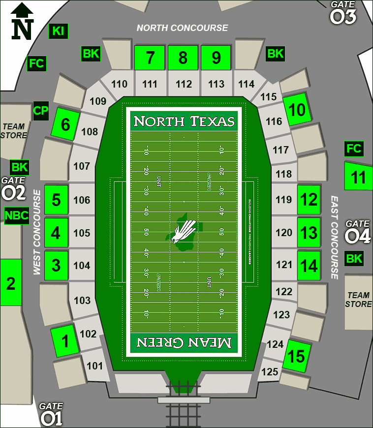 Apogee Stadium concessions map - candy