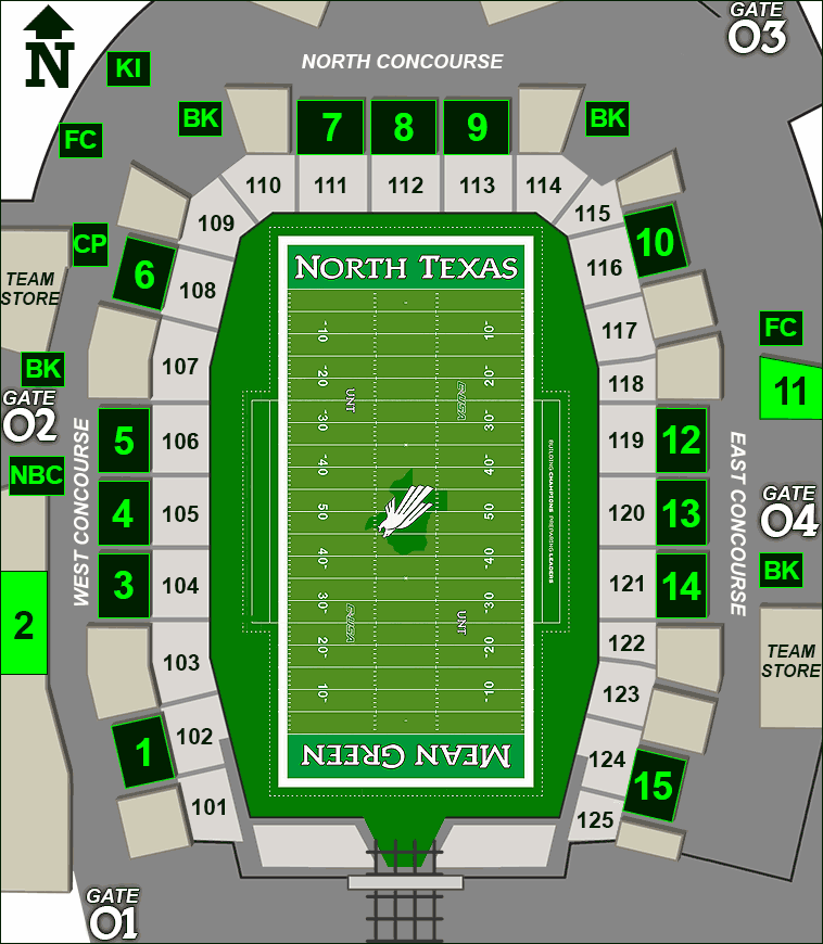Apogee Stadium concessions map - North Texas Cantina