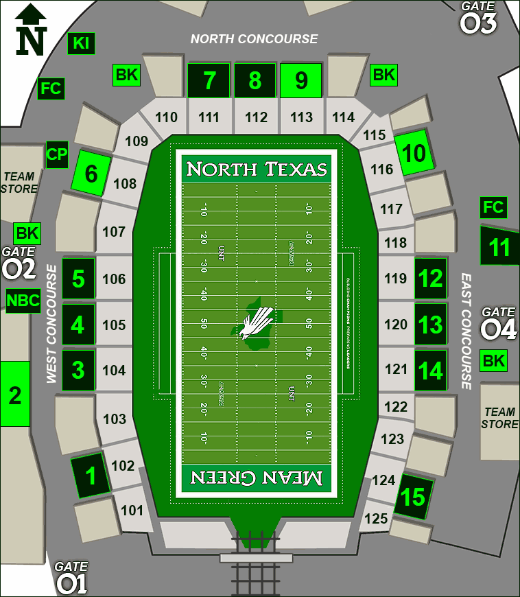 Apogee Stadium concessions map - beer at permanent stands