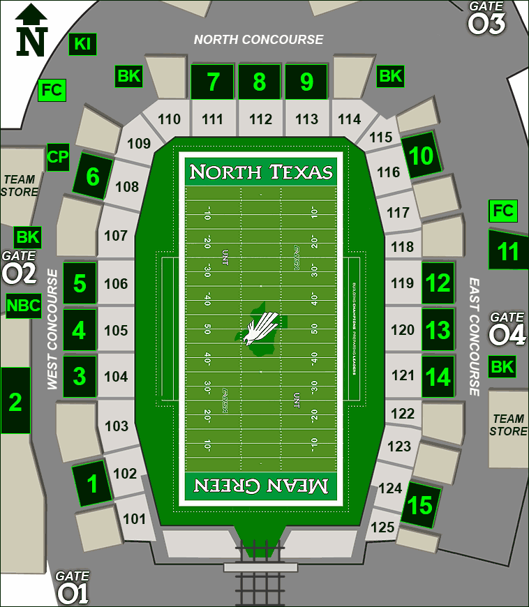 Apogee Stadium concessions map - Fletcher's Corny Dogs