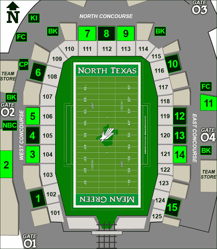Apogee Stadium concessions map - sandwiches