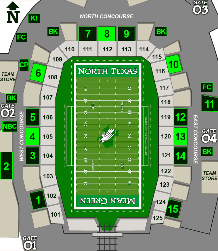 Apogee Stadium concessions map - sausages