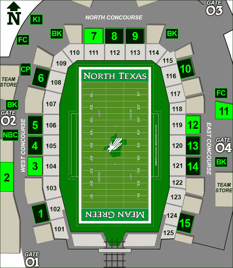 Apogee Stadium concessions map - specialties