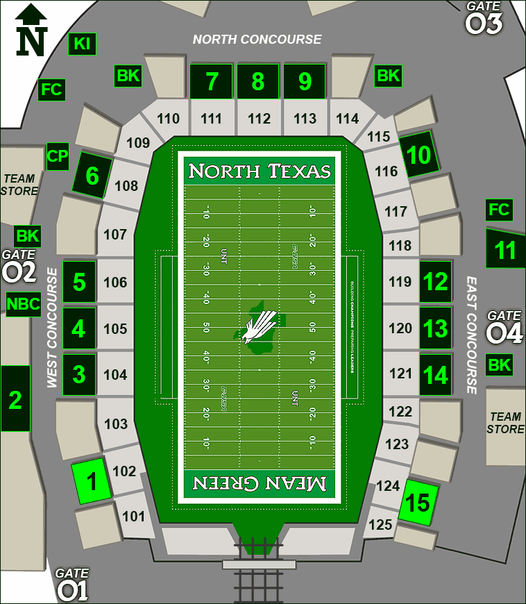 Apogee Stadium concessions map - Touchdown Tacos